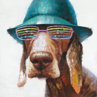Mixed Media hund med solbrille