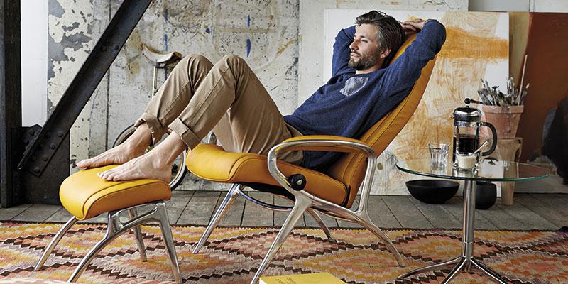 Stressless james designerlænestol i gul læder