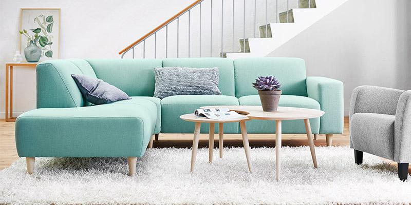 Amalfi sofa med chaiselong - pastel grøn