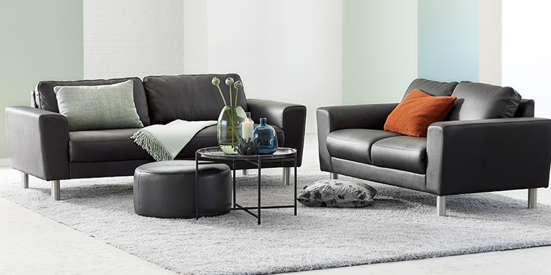 Stamford sofasæt i sort læder