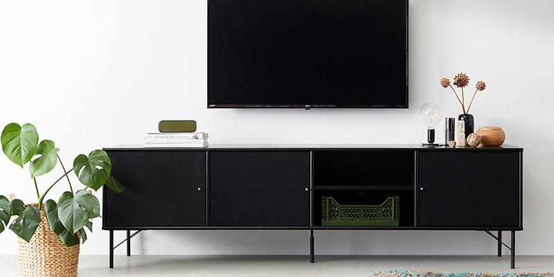 sort tv bænk til fladskærm