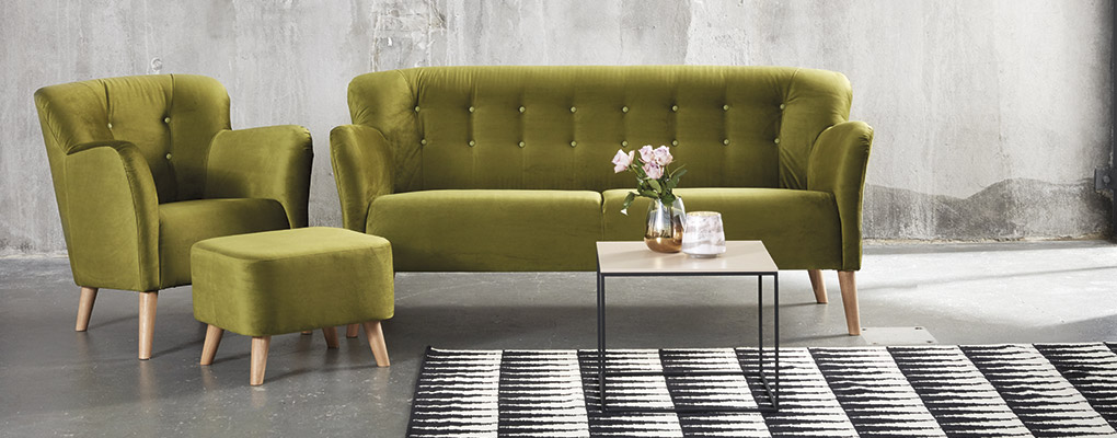 Retro lænestol i grønt stof